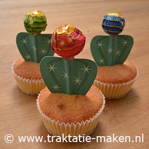 afbeelding traktatie Cactus cupcake