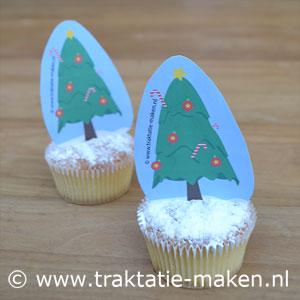 afbeelding traktatie Kerstboom Cupcake