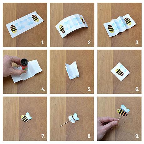 afbeeldingen met instructies voor het maken van de bijtjes fruitspies